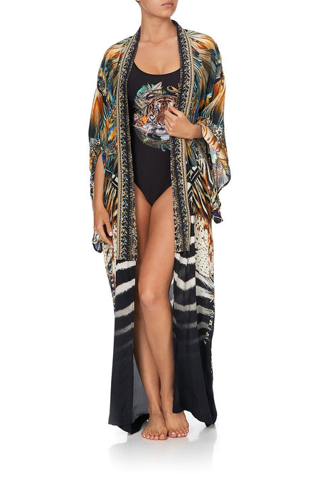 Round Neck Kaftan One Piece- Solid Black