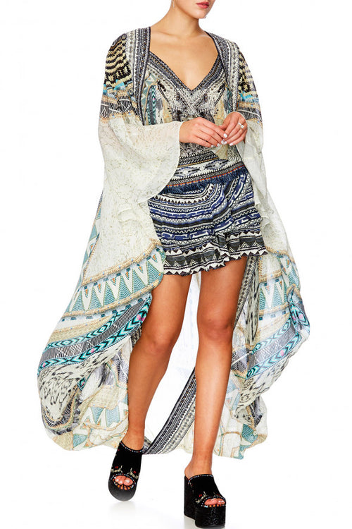 Long Sleeve Long Cape- Weave On