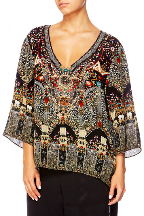 V-Neck Oversized Blouse- Chamber Of Reflections