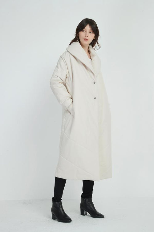 Heavy Padded Long Coat- Bone
