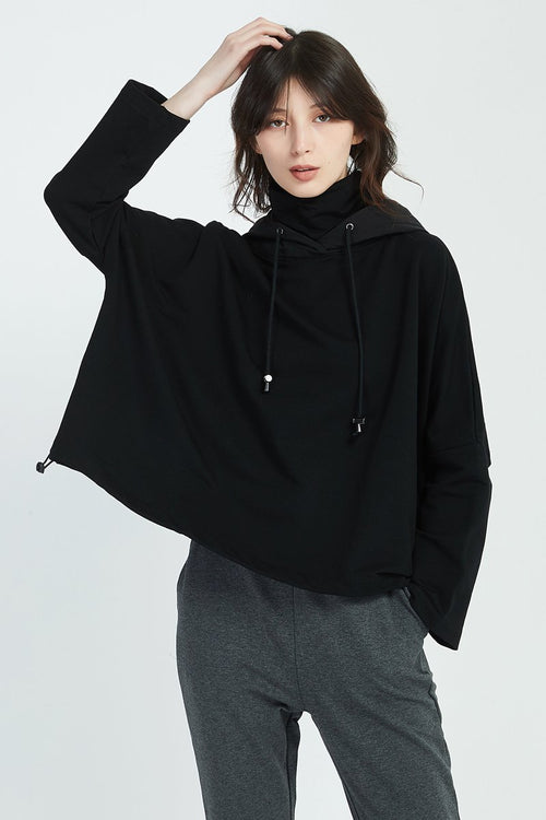 Oversized Contrast Hood Jumper- Black