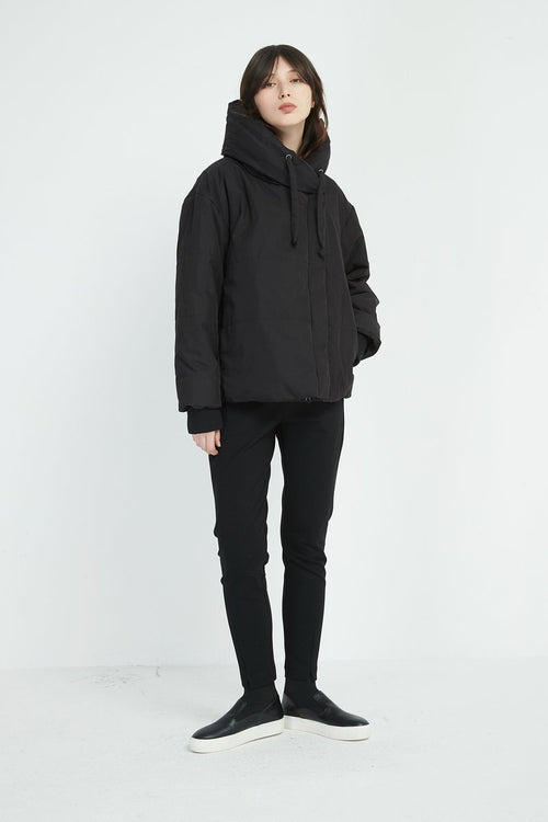 Heavy Padded Big Collar Jacket- Black