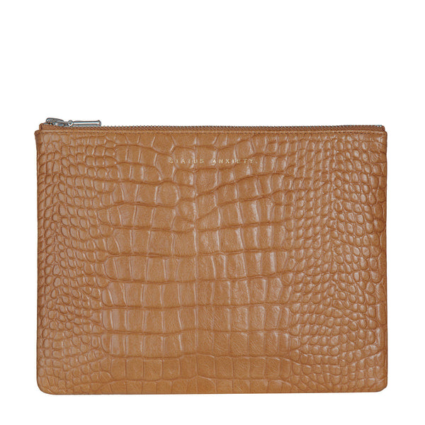 Anti- Heroine Clutch- Tan Croc