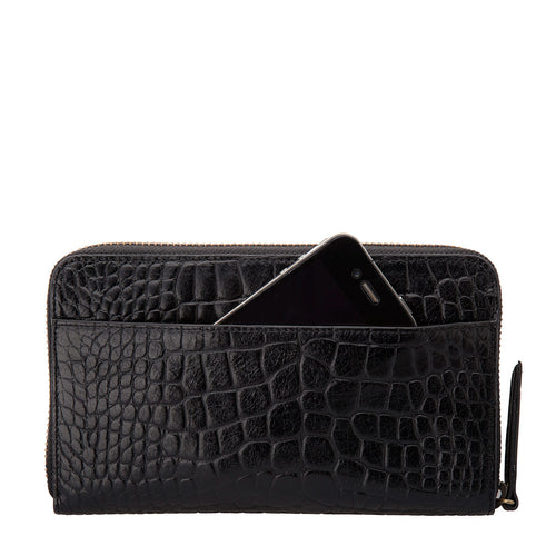 Deliah Wallet- Black Croc Embossed