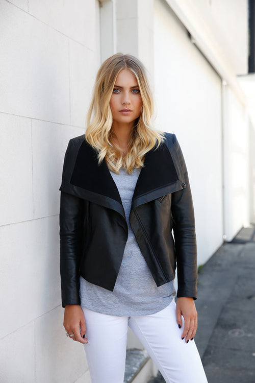 Leather Wrap Jacket- Black