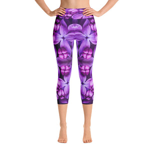 Lilac Flower Capri Leggings