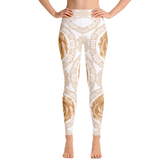 Golden Rose Yoga Leggings