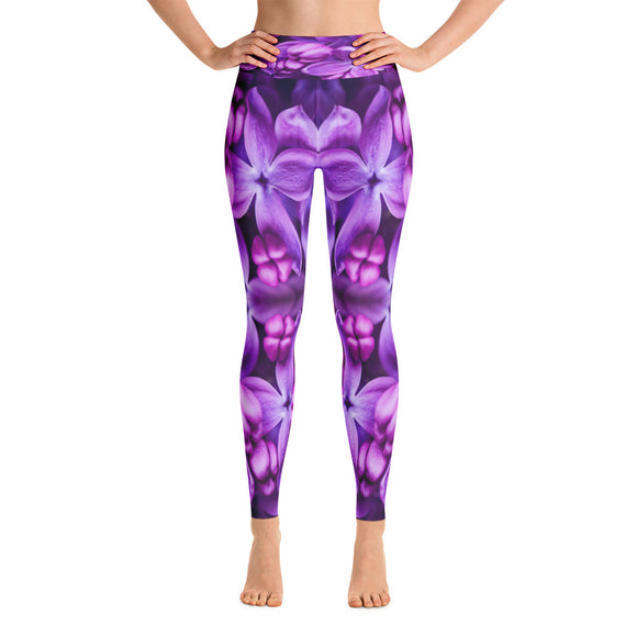 Lilac Flower Yoga Leggings