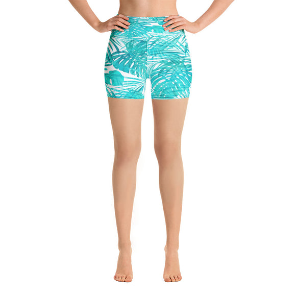 Tropical Turquoise Yoga Shorts