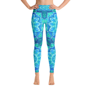 Aqua Mandala Yoga Leggings