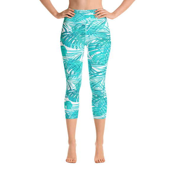 Tropical Turquoise Capri Leggings