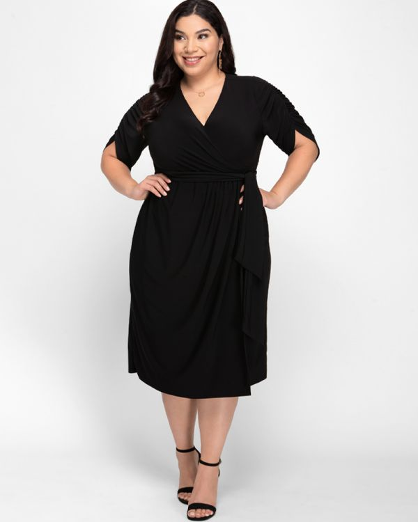 Eden Faux Wrap Dress in Black