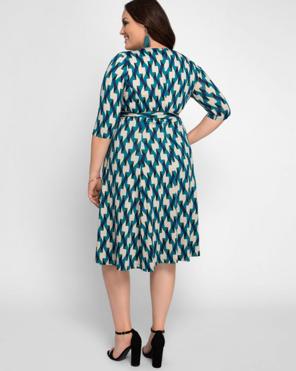 Essential Wrap Dress in Teal Geo Print