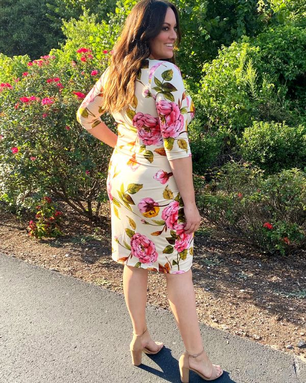 Ciara Cinch Dress in Vintage Peony Print