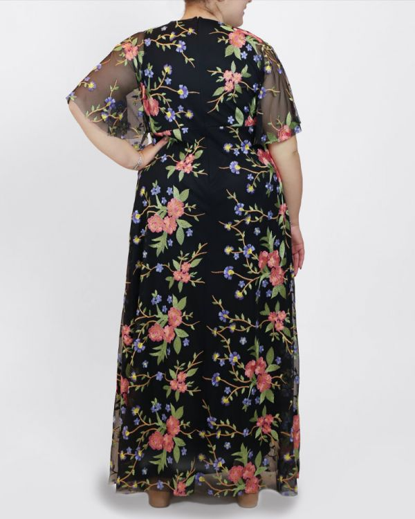 Embroidered Elegance Evening Gown in Garden Party Print