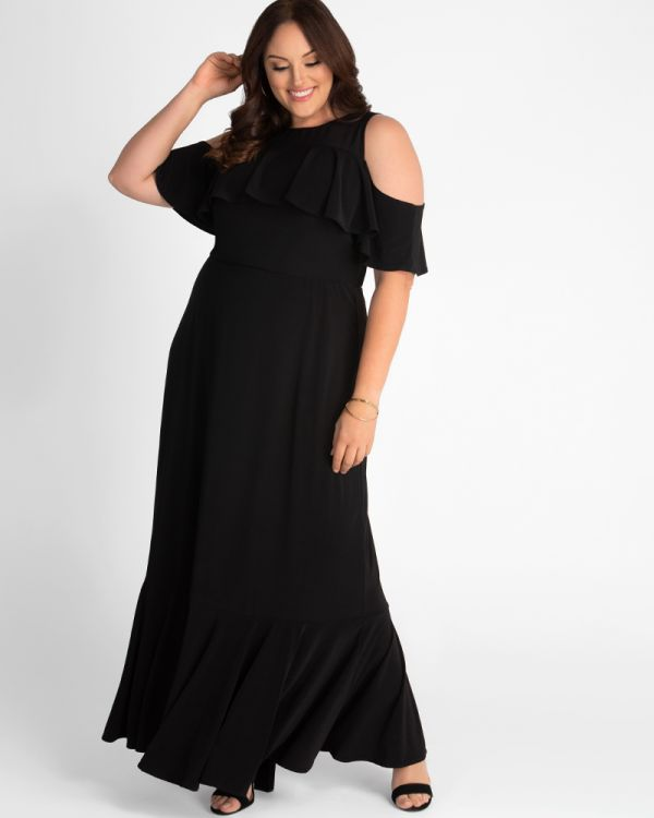 Piper Cold Shoulder Maxi Dress in Black Noir
