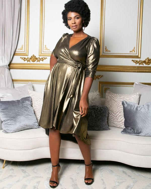 Monroe Metallic Wrap Dress