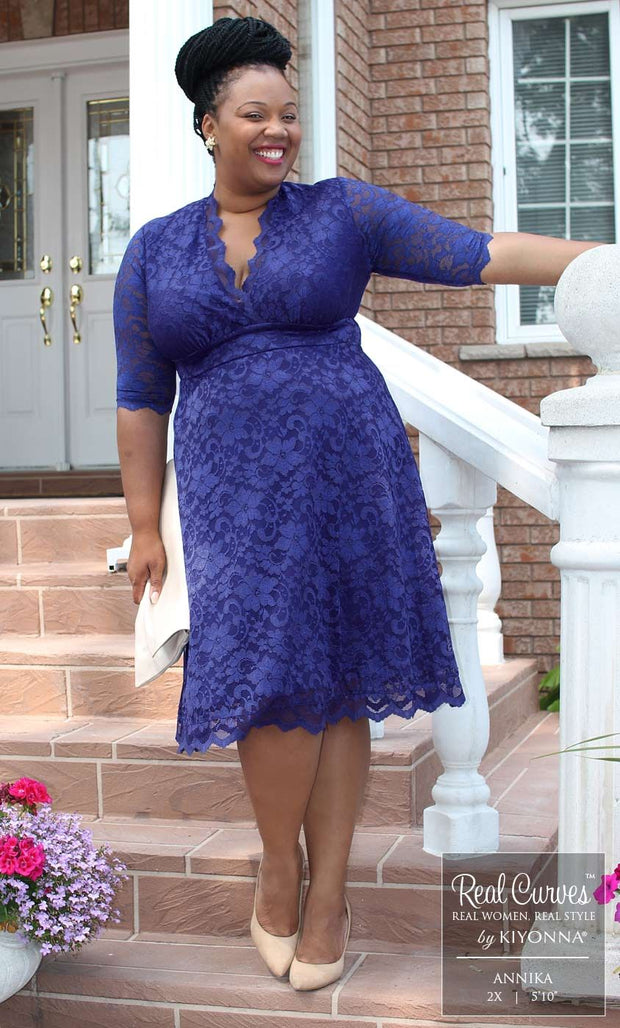 Kiyonna Mademoiselle Lace Dress in Sapphire Blue