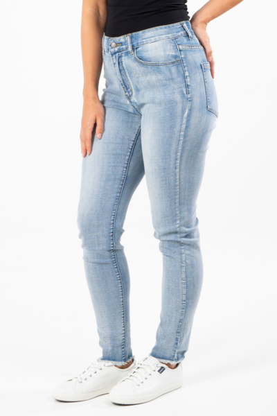 Frayed Slim Fit Jean in Light Denim