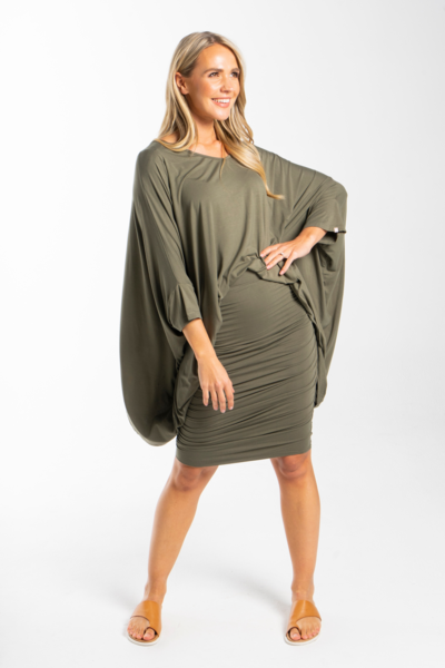 Ruche Skirt in Khaki