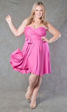 plus size wrap dresses pink