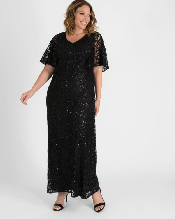 Celestial Cape Sleeve Gown in Onyx