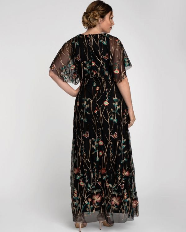 Embroidered Elegance Evening Gown in Onyx