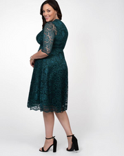 Mademoiselle Lace Dress in Emerald Green