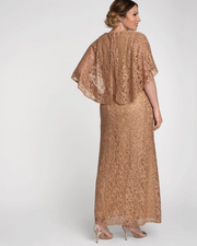 Celestial Cape Sleeve Gown in Champagne