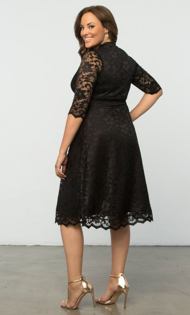 Womens Plus Size Cocktail Dresses Mademoiselle Lace In Onyx
