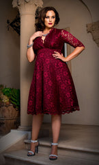 Kiyonna Mademoiselle Lace Dress in Pinot Noir