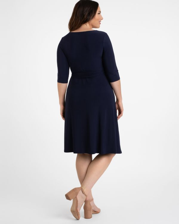 Sweetheart Knit Wrap Dress in Navy Blue