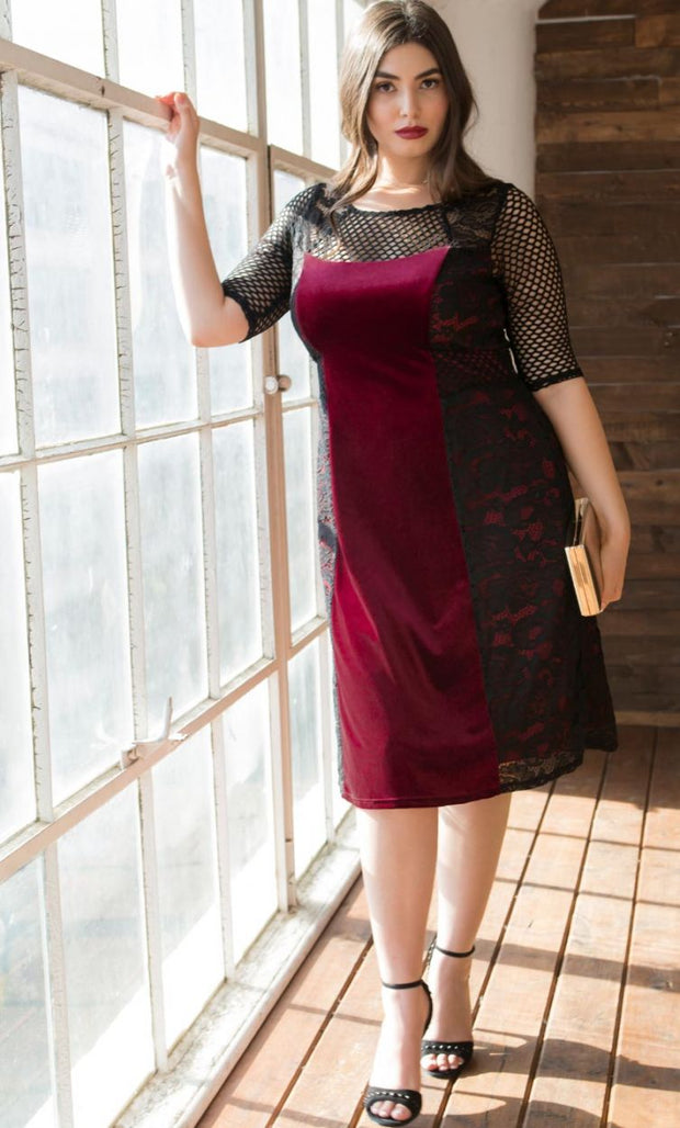 Mixed Lace Cocktail Dress