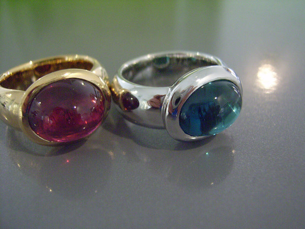 Ringe 750 Gelbgold/Weissgold Rubellit/Indigolith