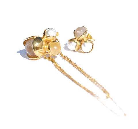 10. Triple Bud Floret Earrings with Chain