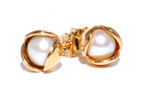 Pearl Bud Floret Stud Earrings