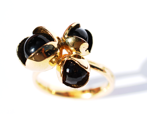 14. Black Bud Floret Triple Ring