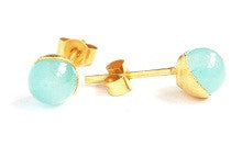 10.Jade Bead Stud Earrings