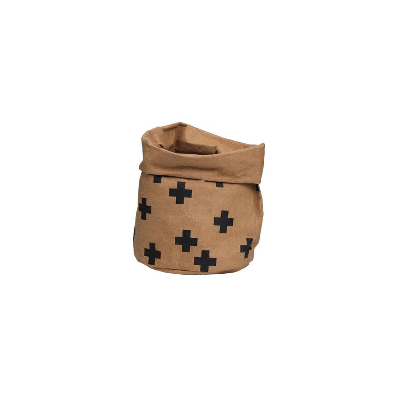 General Eclectic Natural Tan Cross Washable Paper Storage Bag