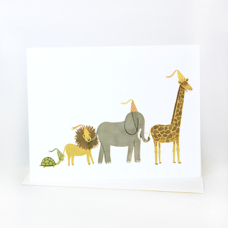 Rifle Paper Co animal party parade greeting card