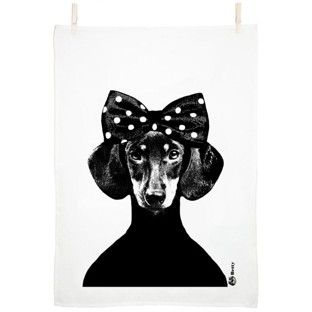 Lisa Bengtsson Dachshund Betty Tea Towel