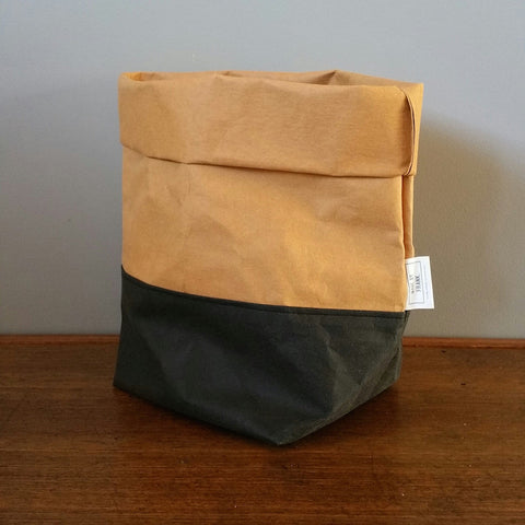 Washable Paper Bag by Made by Frank | Black Tan Large