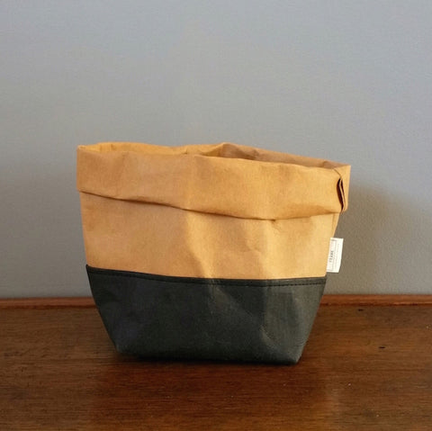Washable Paper Bag by Made by Frank | Black Tan Medium