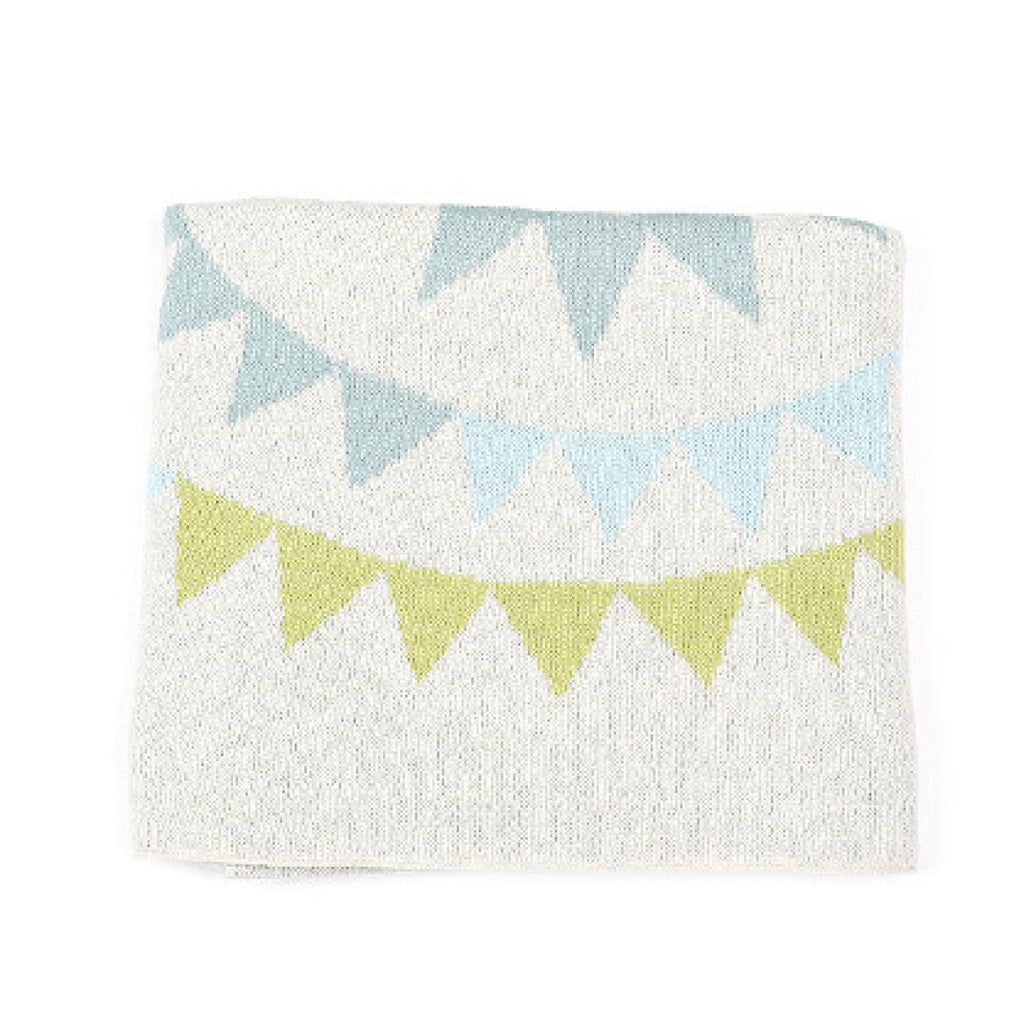 Indus Design baby boy blanket with colourful bunting print