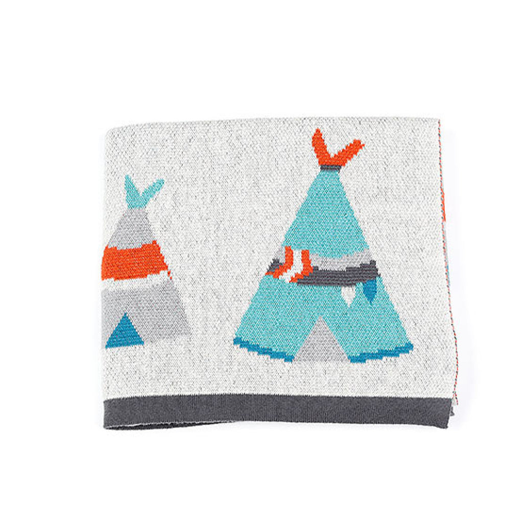 Indus Design baby blanket with colourful teepee print