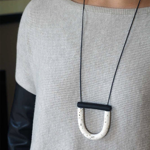 U Bar Necklace by Jack by Sam | White Pepper & Black