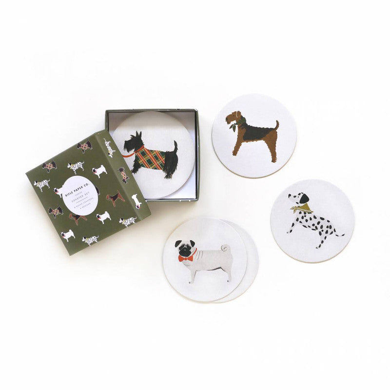 Rifle Paper Co gift box of 8 coasters featuring unique dog designs.