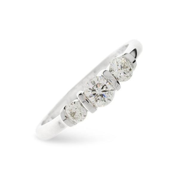 Bespoke 3 Stone diamond ring handmade in 18ct white.