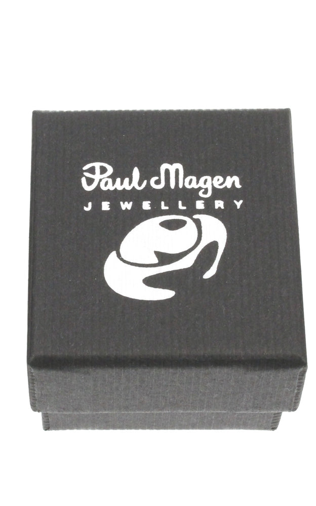 Drop earring in sterling silver on hoop set with ruby red coloured cubic zirconia. - Paul Magen