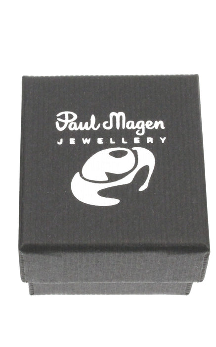 Handmade stud earring in sterling silver set with garnet. - Paul Magen